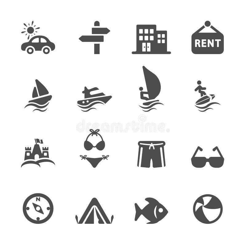 Reis en vakantie het pictogram plaatste 2, vectoreps10 stock illustratie