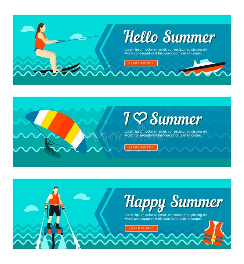 Reis en vakantie vectorbanners stock illustratie