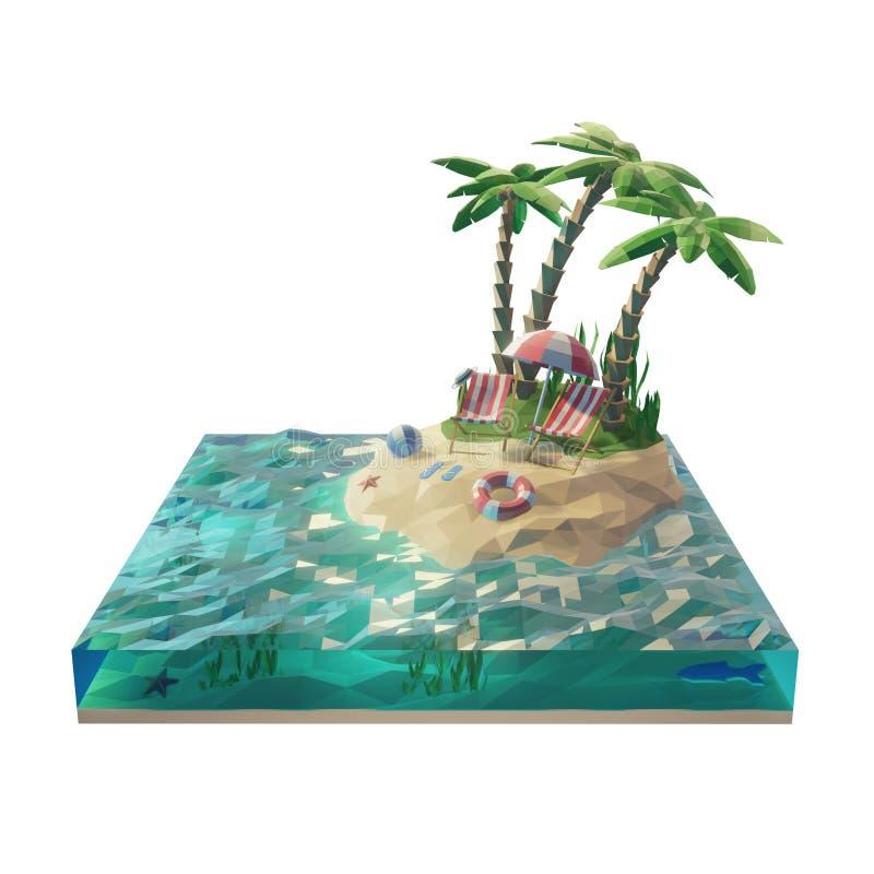 Reis en vakantieconcept op het strand 3d zomer ongebruikelijke illustratie met besnoeiing van water, en eiland Ge?soleerd op wit stock illustratie