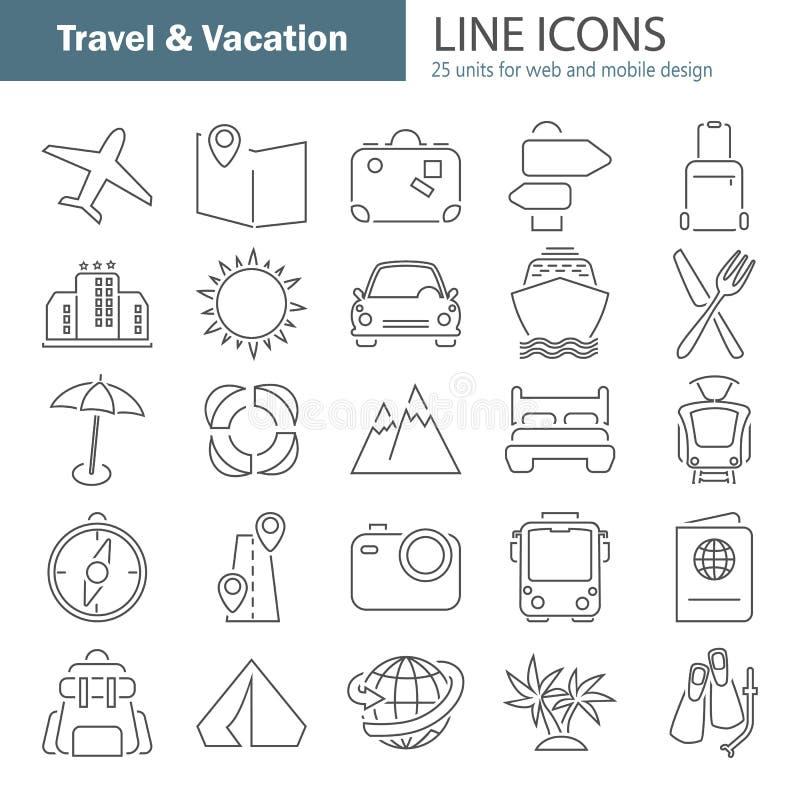 Reis en vakantielijn dunne die pictogrammen voor Web en mobiel ontwerp worden geplaatst vector illustratie