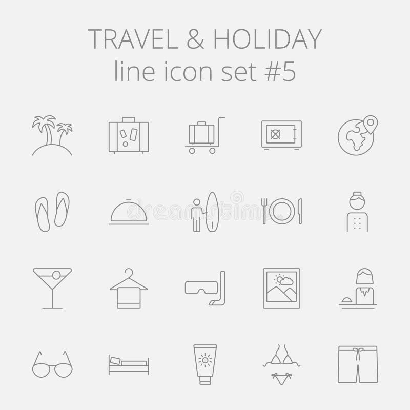 Reis en vakantiepictogramreeks stock illustratie