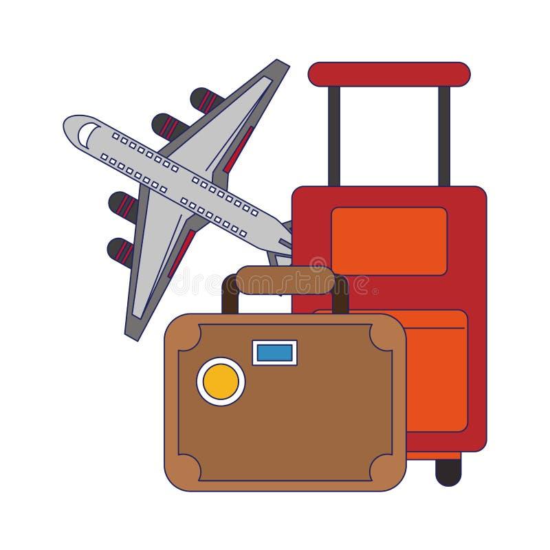 Reis en vakantiessymbolen blauwe lijnen vector illustratie