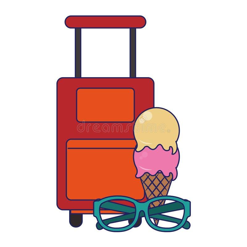 Reis en vakantiessymbolen blauwe lijnen royalty-vrije illustratie