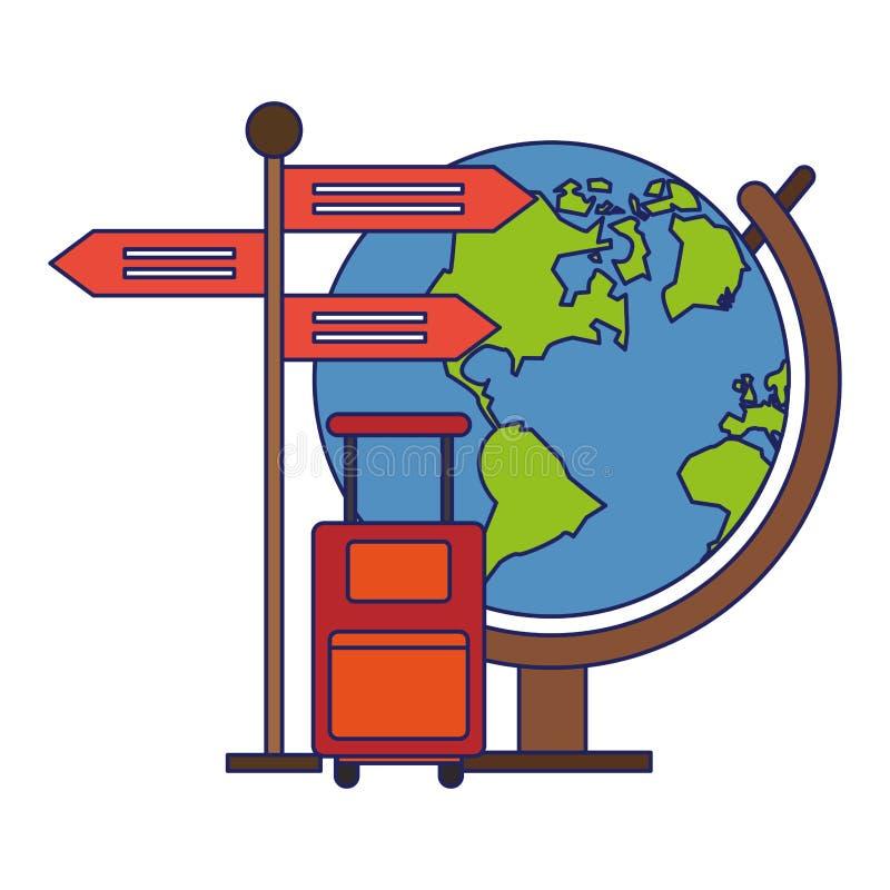 Reis en vakantiessymbolen blauwe lijnen stock illustratie