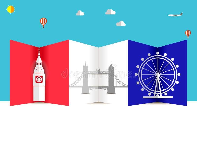 Reis en Vluchtenachtergrond voor toerist, vakantie en vakantie, de reisachtergrond van Amerika, Londen stock illustratie