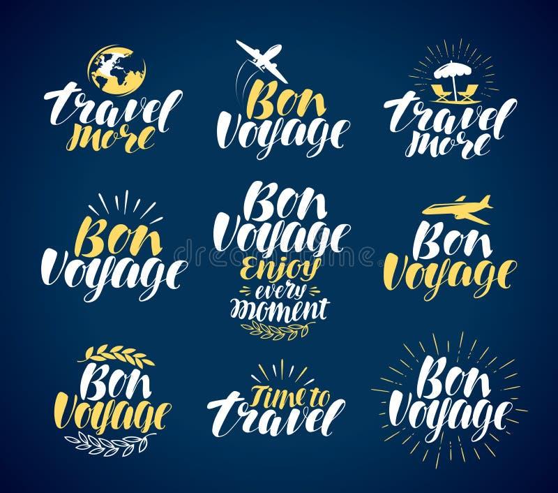 Reis, etiketreeks Reis, vakantiepictogrammen of symbolen Het van letters voorzien, kalligrafie vectorillustratie stock illustratie