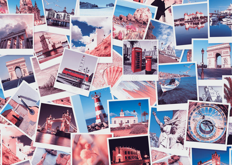Reis in Europa, collage stock afbeelding