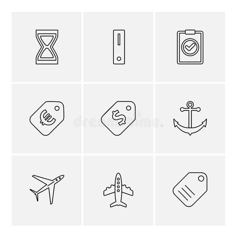 reis, geld, het winkelen, bestemming, navigatie, eps pictogrammen vector illustratie
