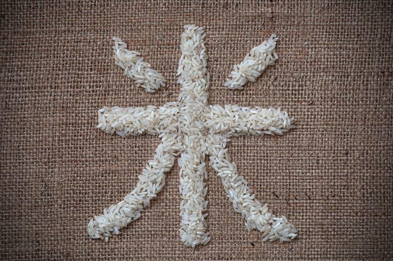 Reis geschrieben auf japanisch stockbilder