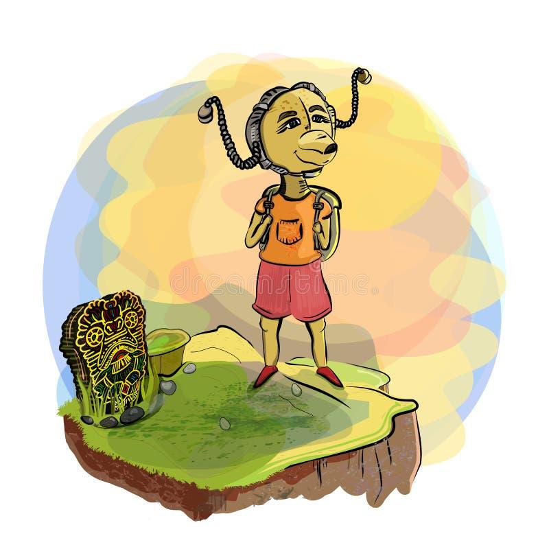 Reis Het beklimmen op de berg Een fantastisch schepsel in een helm steampunk en Hawaiiaanse deity op de heuvel royalty-vrije illustratie
