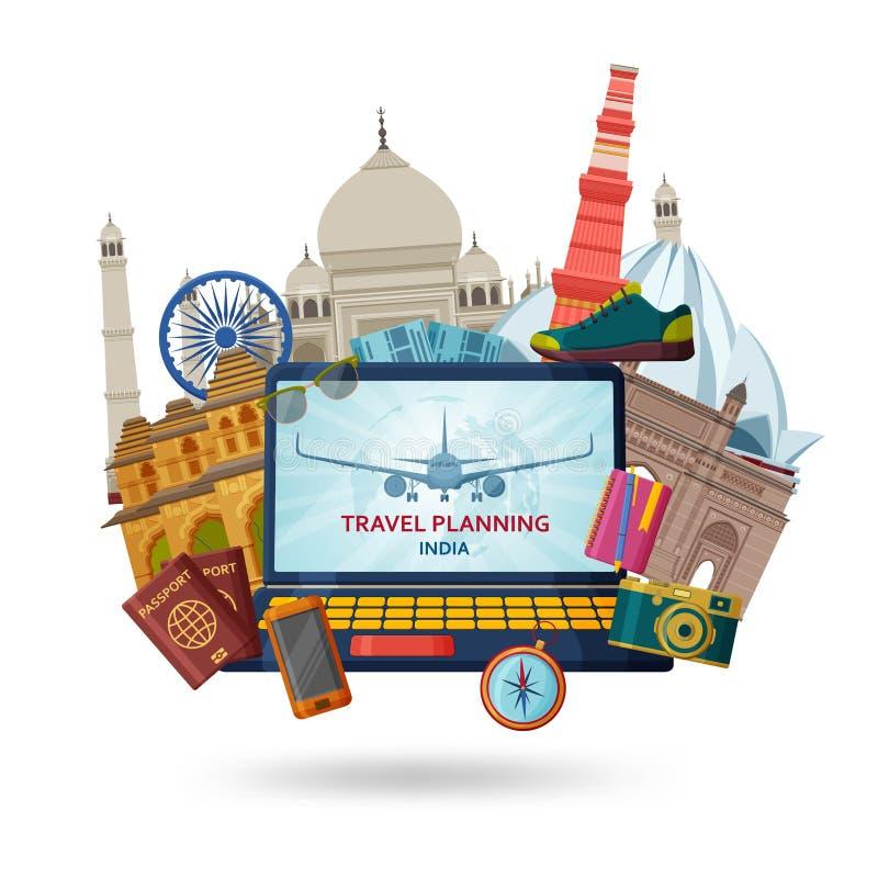 Reis in het concept van India Indiër de meeste beroemde geplaatste gezichten Architecturale gebouwen Beroemde toeristische attrac vector illustratie