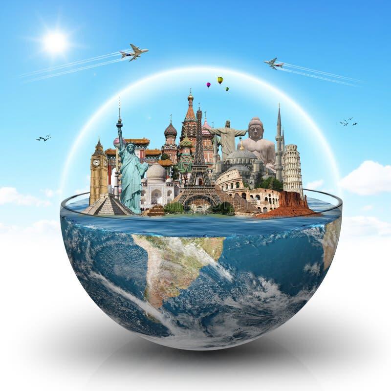 Reis het concept van wereldmonumenten royalty-vrije illustratie