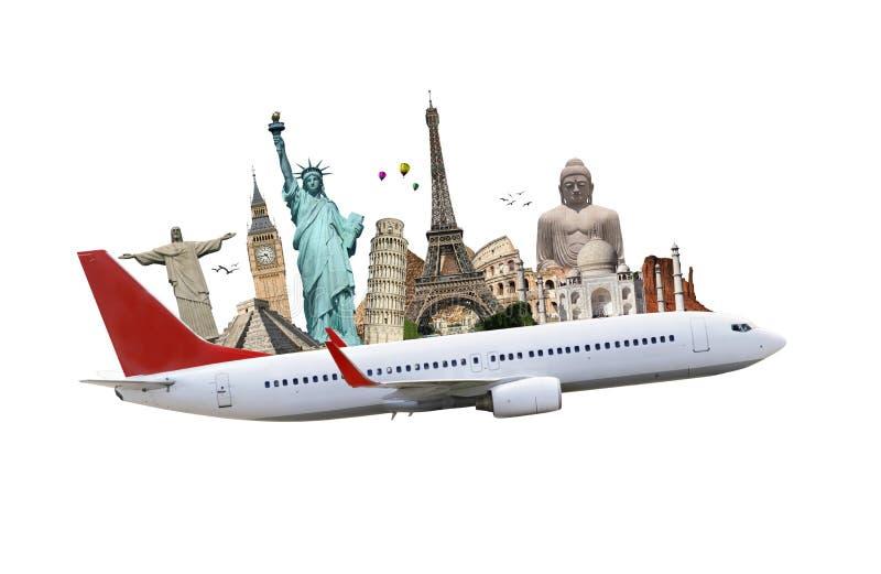 Reis het het vliegtuigconcept van wereldmonumenten vector illustratie