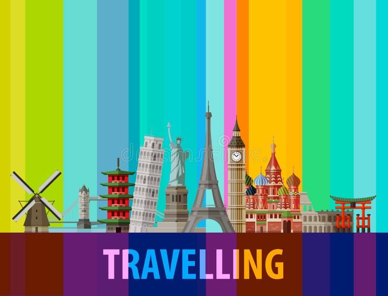 Reis, het ontwerpmalplaatje van het reis vectorembleem stock illustratie