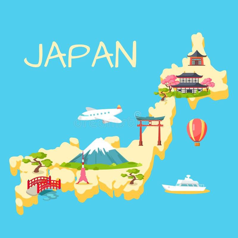 Reis in het Toeristische Vlakke Vectorconcept van Japan stock illustratie