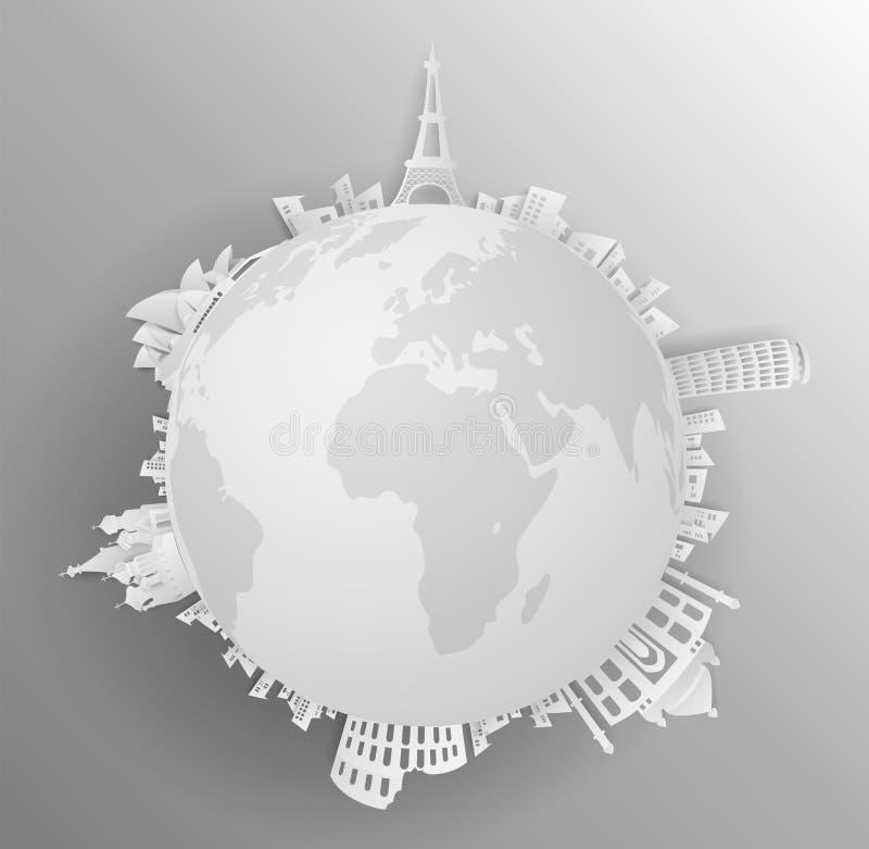 Reis het wereldmonument met concepten grijze backround stock illustratie