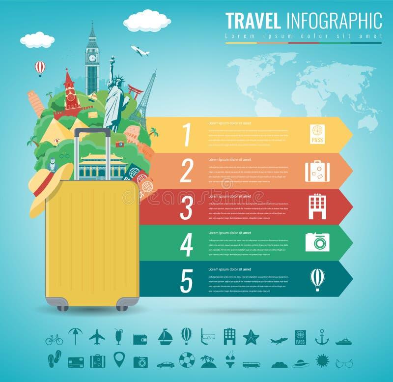 Reis infographic met wereldori?ntatiepunten Infographics voor zaken, websites, presentaties, reclame Reis en stock illustratie