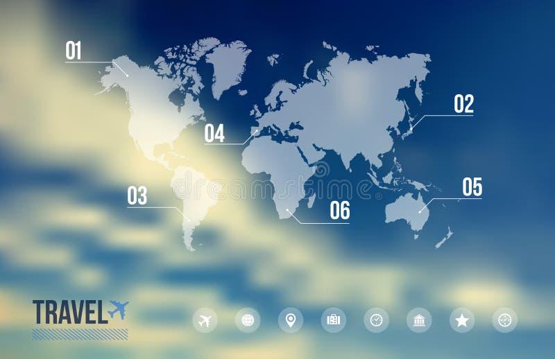 Reis infographic over hemel blauwe vage achtergrond vector illustratie