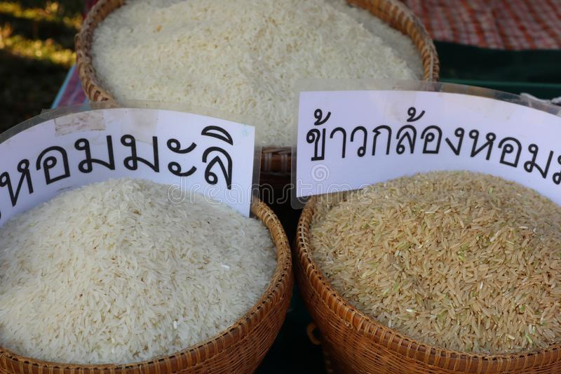 Reis ist ein Korn, das das world& x27; s-Bevölkerung verbraucht als wichtige Nahrung Besonders in Asien lizenzfreie stockfotografie