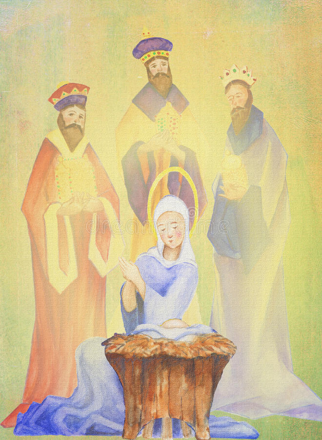 Reis mãe e criança Mary e infante Jesus da cor de água 3 da pintura a óleo do esmagamento dos magi da natividade do Natal ilustração stock