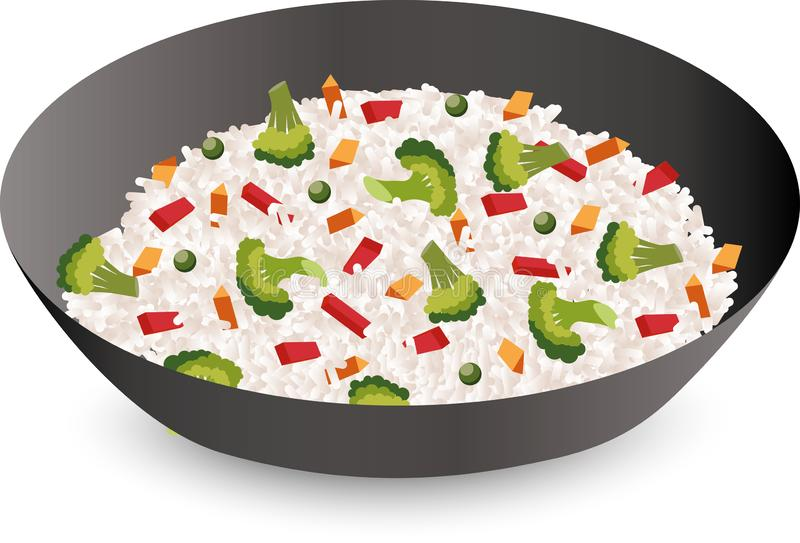 Reis mit Gemüse in einer Schüssel lokalisiert auf weißem Hintergrund Auch im corel abgehobenen Betrag vektor abbildung