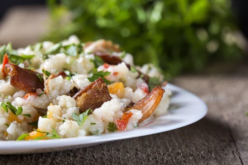 Reis mit Hühnerfleisch lizenzfreie stockfotografie
