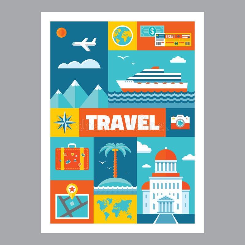 Reis - mozaïekaffiche met pictogrammen in vlakke ontwerpstijl Vector geplaatste pictogrammen stock illustratie