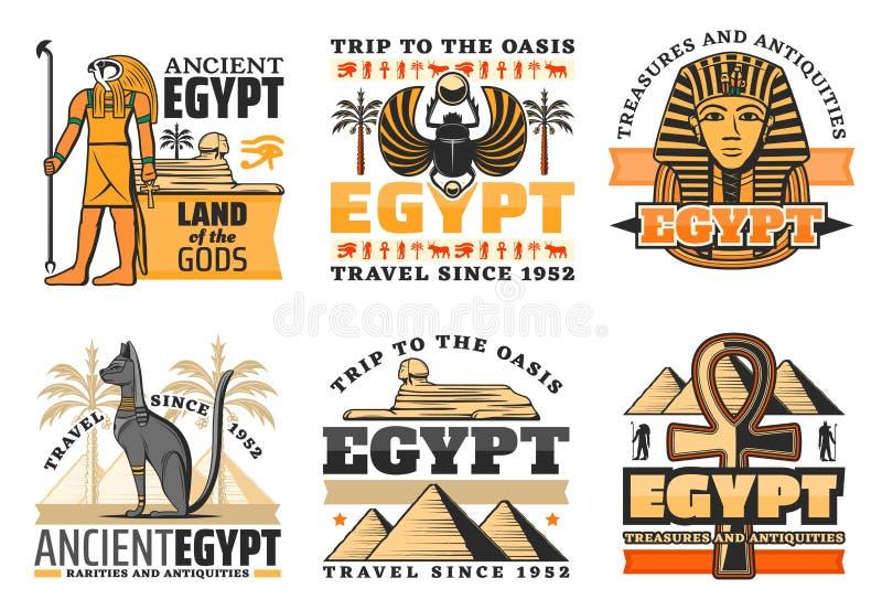Reis naar de pictogrammen van Egypte, Egyptische goden en gezichten royalty-vrije illustratie