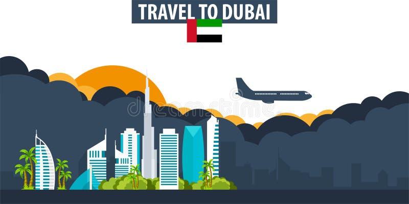 Reis naar Doubai Reis en Toerismebanner Wolken en zon met royalty-vrije illustratie