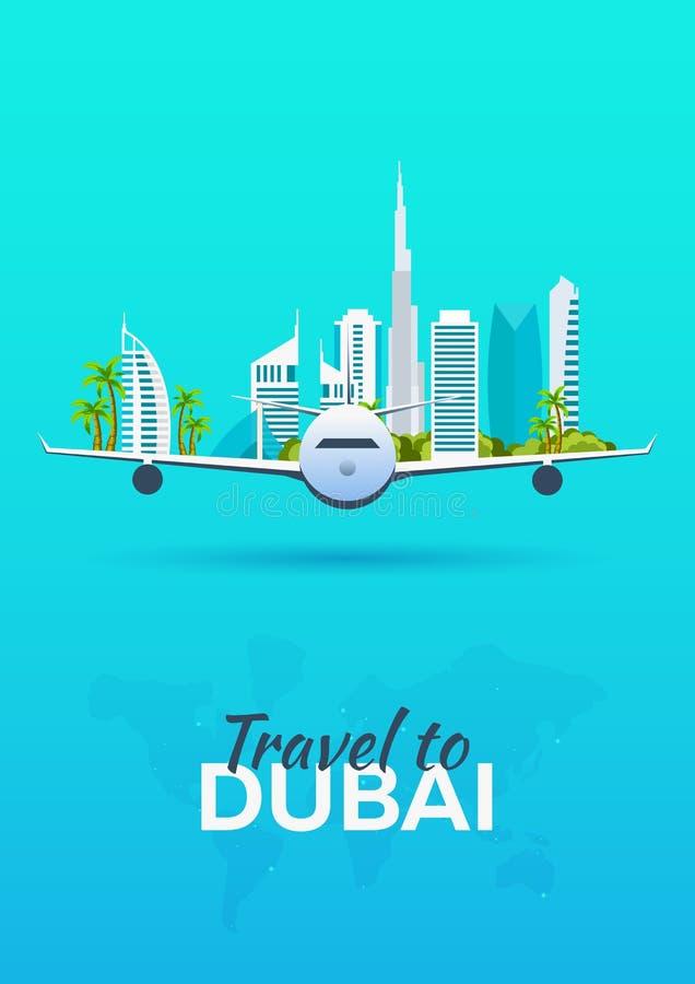 Reis naar Doubai Vliegtuig met Aantrekkelijkheden De banners van de reis Vlakke stijl royalty-vrije illustratie