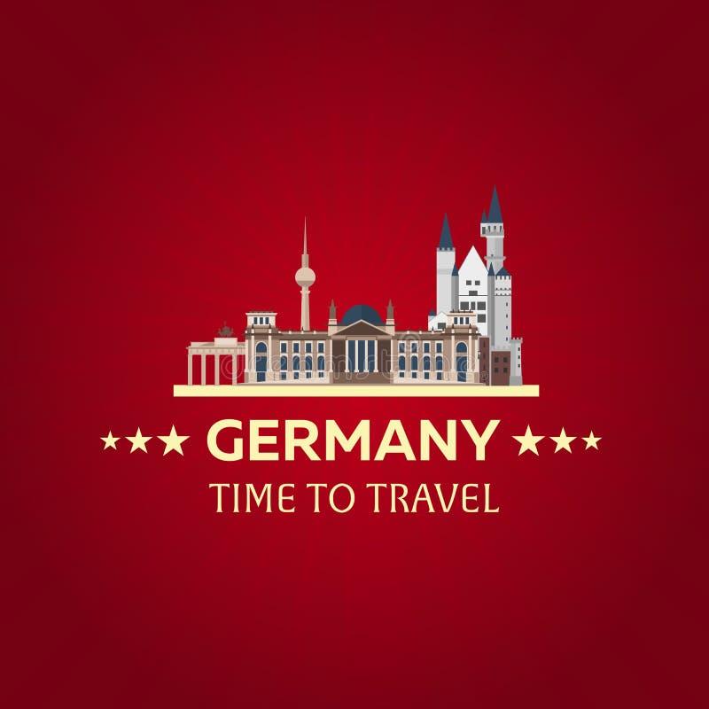 Reis naar Duitsland, Berlin Poster-horizon Reichstag, de Poort van Brandenburg Vector illustratie stock illustratie