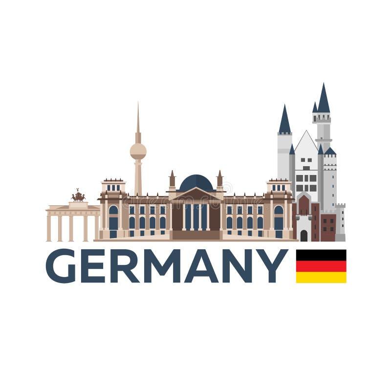Reis naar Duitsland, Berlin Poster-horizon Reichstag, de Poort van Brandenburg Vector illustratie vector illustratie