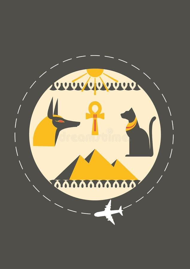 Reis naar Egypte Dekking voor brochure of kaart, affiche of sticker Vector illustratie stock fotografie