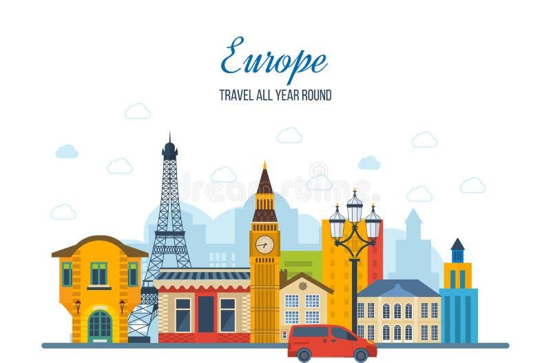 Reis naar Europa Het Frans en van Engeland oriëntatiepunten stock illustratie
