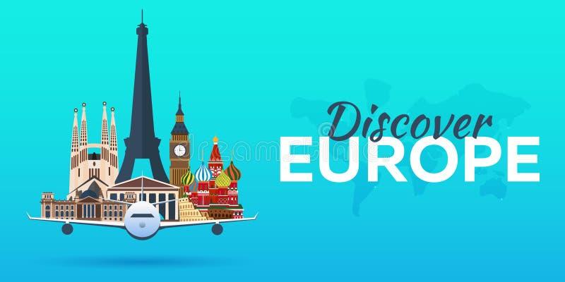Reis naar Europa Vliegtuig met Aantrekkelijkheden De banners van de reis Vlakke stijl royalty-vrije illustratie