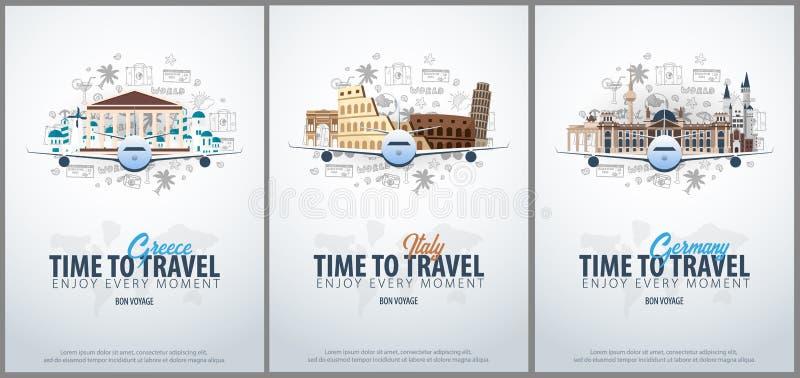 Reis naar Griekenland, Italië en Duitsland Tijd te reizen De banner met vliegtuig en hand-trekt krabbels op de achtergrond vector illustratie