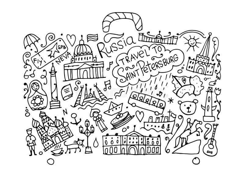 Reis naar Heilige Petersburg, schets voor uw ontwerp vector illustratie
