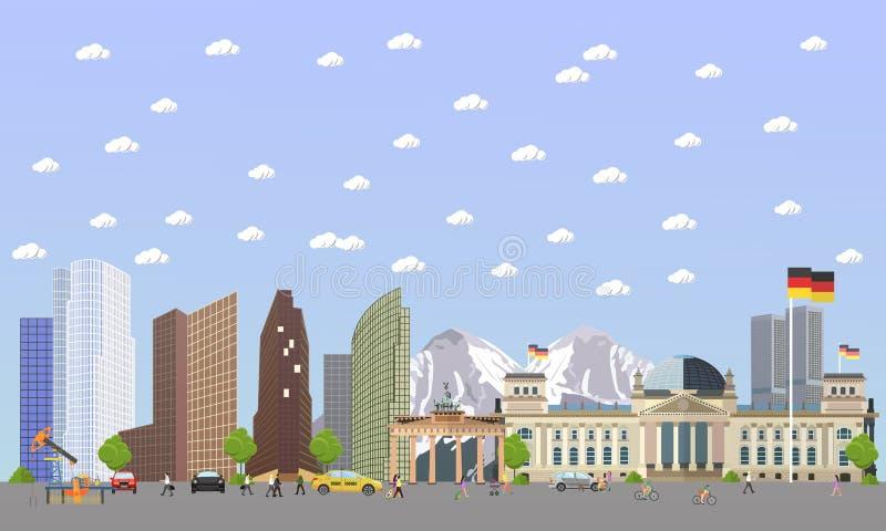 Reis naar het concepten vectorillustratie van Duitsland De stadslandschap van Berlijn Duitse oriëntatiepunten en bestemmingen vector illustratie
