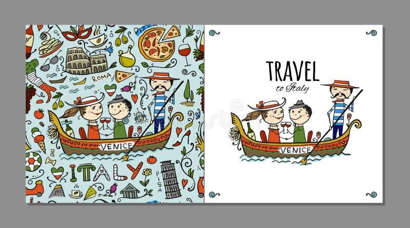 Reis naar Italië Groetkaart voor uw ontwerp stock illustratie