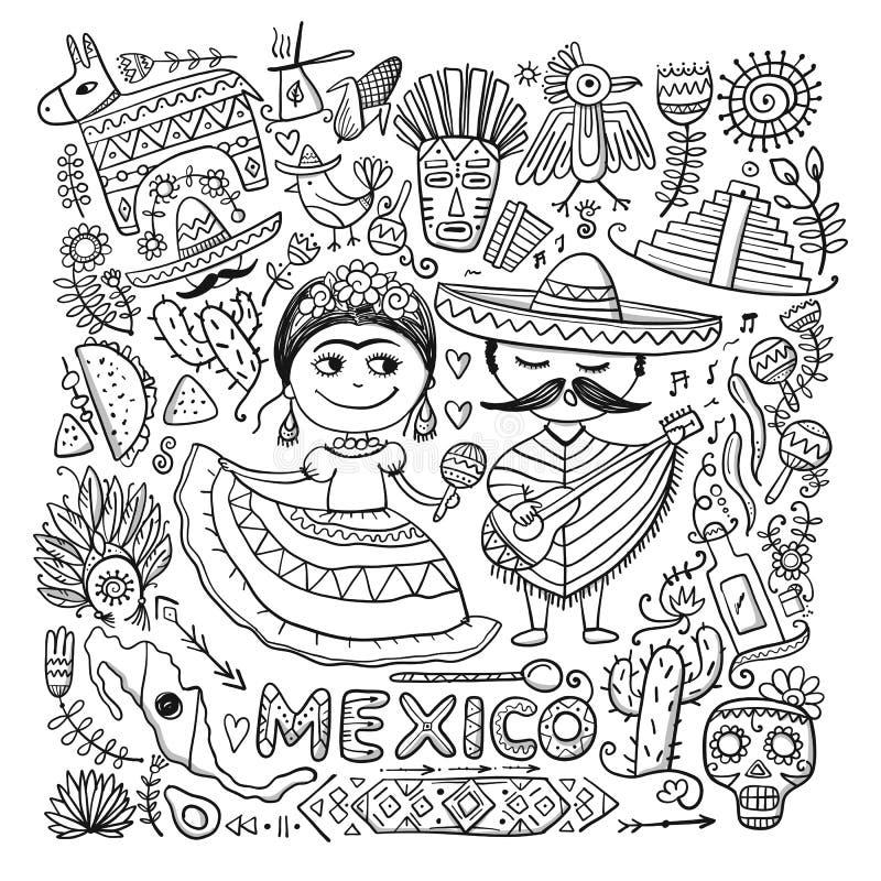 Reis naar Mexico Groetkaart voor uw ontwerp stock illustratie