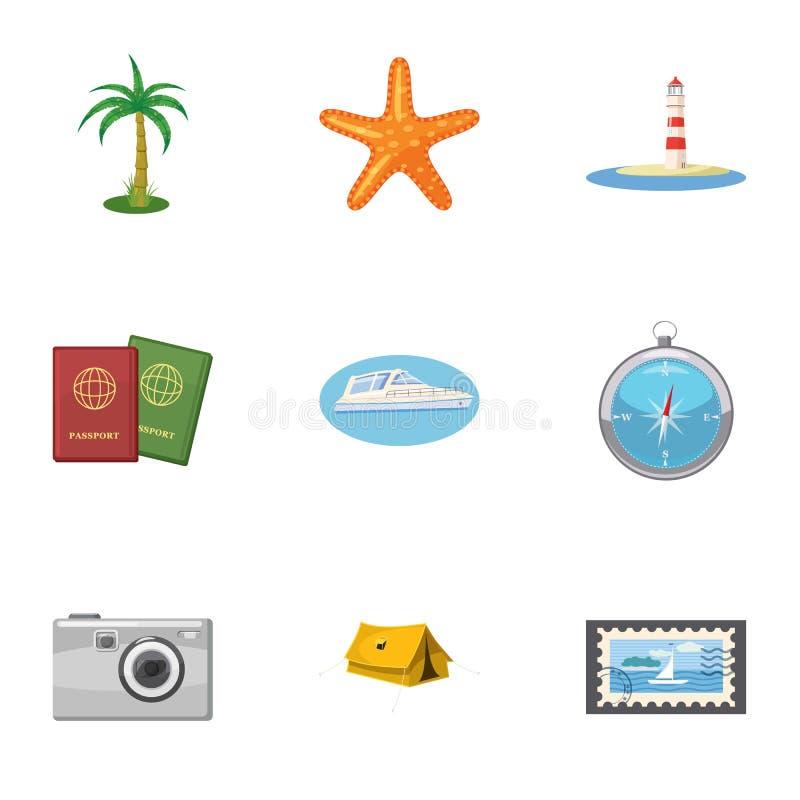 Reis naar overzeese geplaatste pictogrammen, beeldverhaalstijl royalty-vrije illustratie