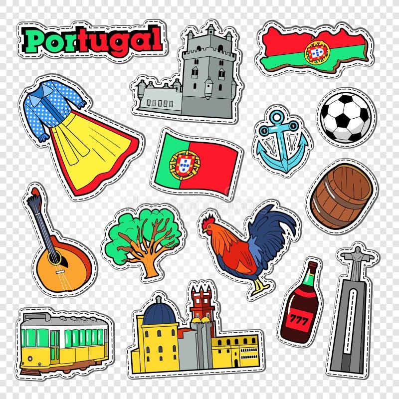 Reis naar Portugal Stickers, Kentekens en Flarden met de Architectuur en het Oriëntatiepunt van Portugal vector illustratie