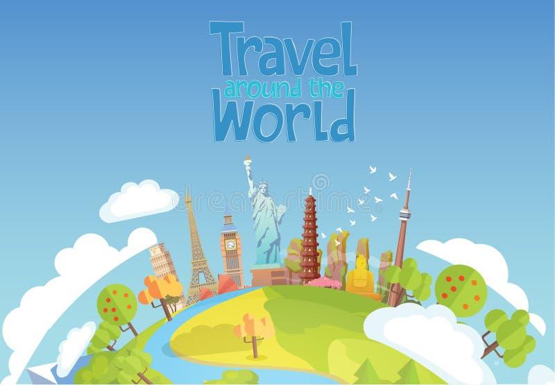 Reis naar Wereld Blauwe hemel en auto toerisme oriëntatiepunten royalty-vrije illustratie