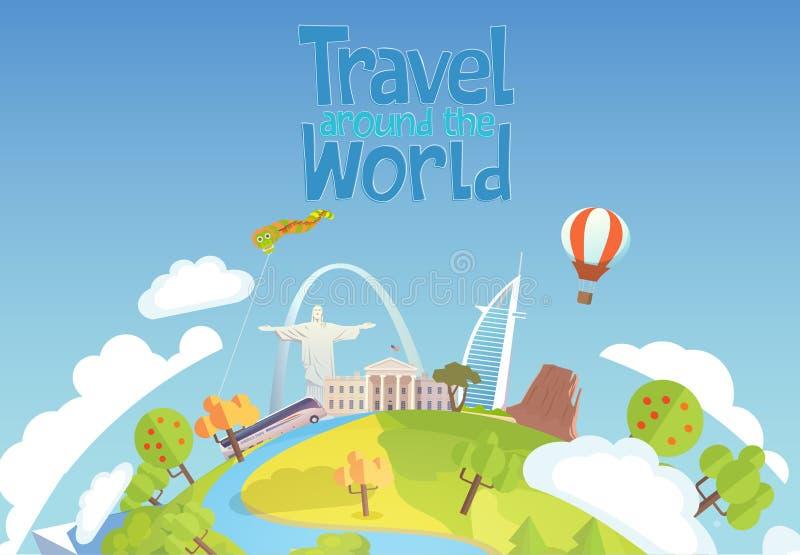 Reis naar Wereld Blauwe hemel en auto toerisme Van het witte huisdoubai van oriëntatiepuntenbrazilië de luchtimpuls royalty-vrije illustratie