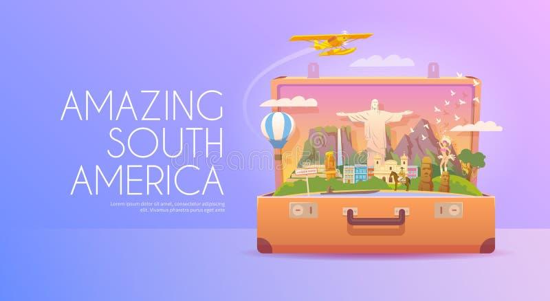 Reis naar Zuid-Amerika stock illustratie