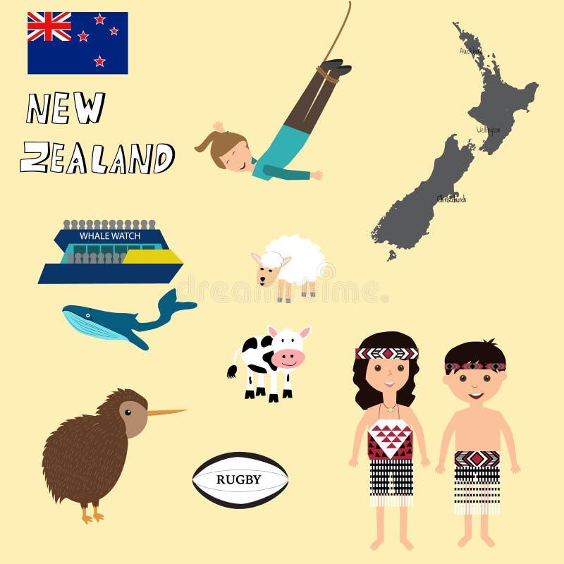 Reis Nieuw Zeeland met kaart, walvis het letten op, het bungy springen royalty-vrije illustratie