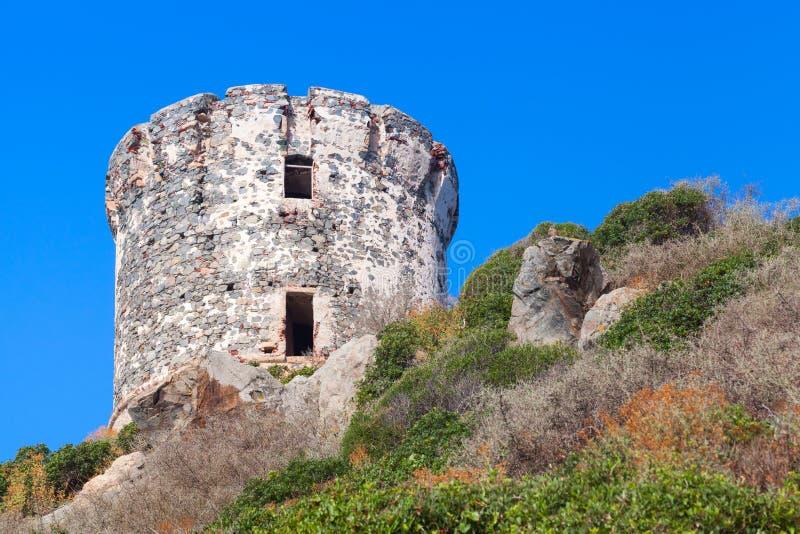 Reis Parata Oude Genoese-toren, Corsica royalty-vrije stock fotografie