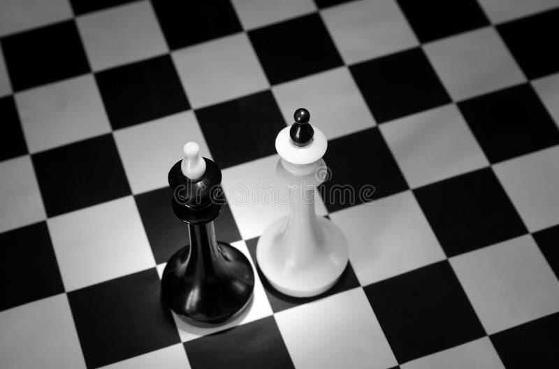 Reis preto e branco da xadrez Batalha de concorrentes iguais imagem de stock