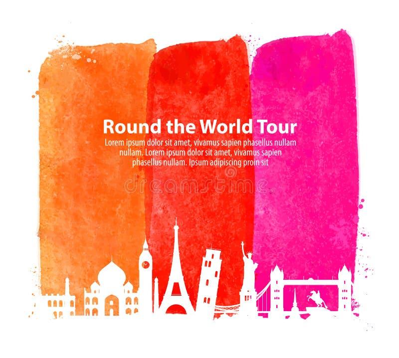 Reis, reis beroemd architectuurland van de wereld Vector illustratie vector illustratie