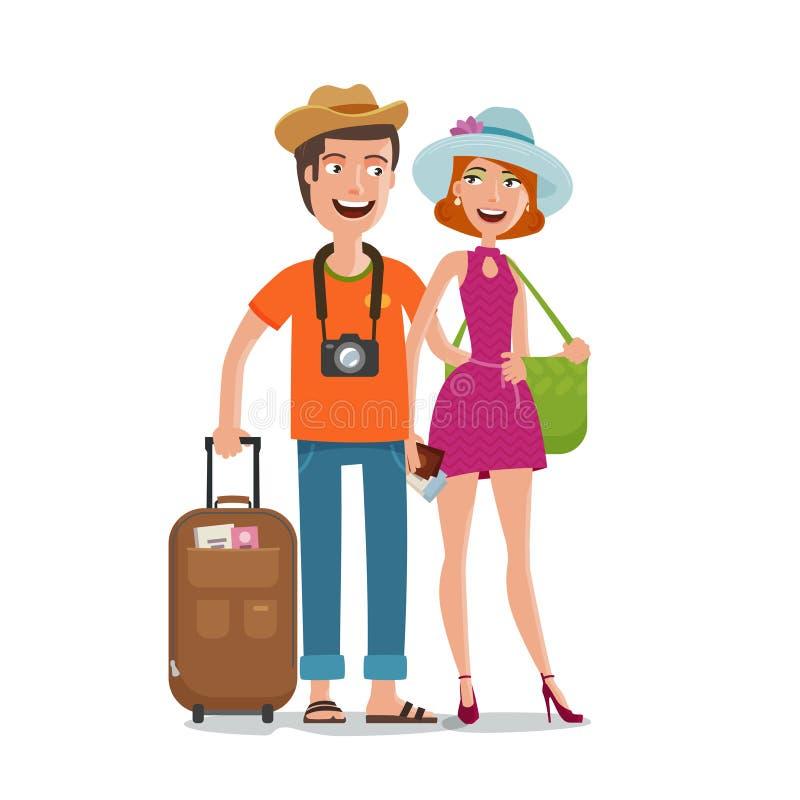 Reis, reis, het concept van de wittebroodswekenreis De mensen, paar gaan op vakantie met zakken in handen De vectorillustratie va vector illustratie
